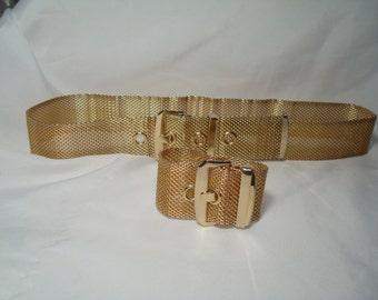 Vintage Whiting and Davis Like Gold Tone Mesh Belt and Matching Bracelet.