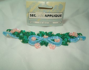 Vintage Sequined and Seed Bead Sparkling Flower SWAG Appliqué  to sew on.