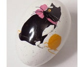 MOVING SALE Vintage Ceramic Cat Egg, White Splatter with Black & White Cat, Pink Bow, Ball of Yarn