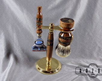 American Walnut Shaving Kit with Copper Inlay and Gold Resin Steampunk Design Super Silvertip Badger Hair Brush Shaving Kit Fathers Day Gift