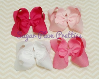 SALE.     Large Pink Twisted Boutique Bow set Hairbows Hairbow Baby Newborn Gift Summer Spring