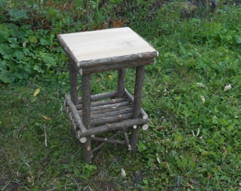 Rustic End Table Cedar Log Furniture Handcrafted Handmade Set of 2