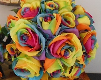 Happiness Multi Colored Silk Rose Bouquet for Wedding or Floral Arrangement OOAK