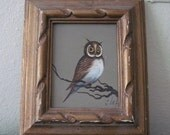 20% OFF SALE 1970s Barnyard OWL Painting, vintage framed art, wall hanging - hand signed by artist