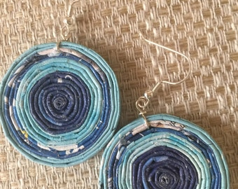 n. 64 BLUE & LIGHT BLUE coiled recycled paper pierced earrings with glass beads measure 1.5""