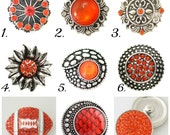 Snap Charms for regular sized Ginger Snaps, Magnolia & Vine, Noosa and other brands of Snap Jewelry. 20-23 mm orange snap charms.