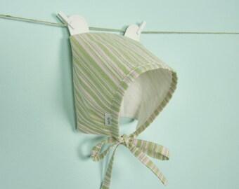 Summer Linen Hat - 6 & 12 Month Baby Girl Bonnet with Bear Ears