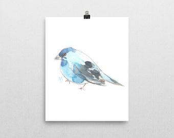 Blue Bird, 8x10 print of original watercolor painting