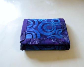 Purple Batik Trifold Wallet