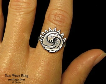 Sun Wave Ring Sterling Silver Ocean Wave in front of Sun Ring