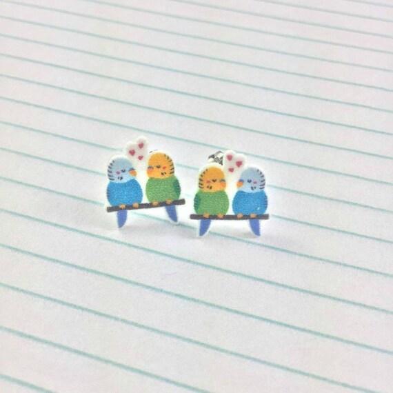 parakeet, budgerigar, two different, love bird, earring, handmade, print on plastic, stainless stud, les perles rares