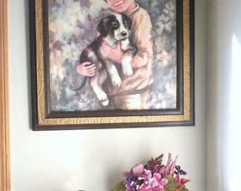 Boy and His Dog Framed Art Print, Vintage Artwork, C. Mitchell Art, Vintage Painting Print, Beagle