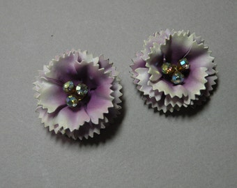 Vintage Enamel Violet Flower Earrings