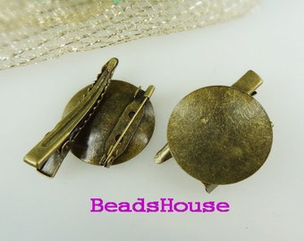 CM-800-13SI   10pcs  Antique Brass Plated Brooch Base W/28mm Pad