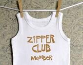 FREE SHIPPING - Zipper Club Member - White Infant Tank Top Shirt