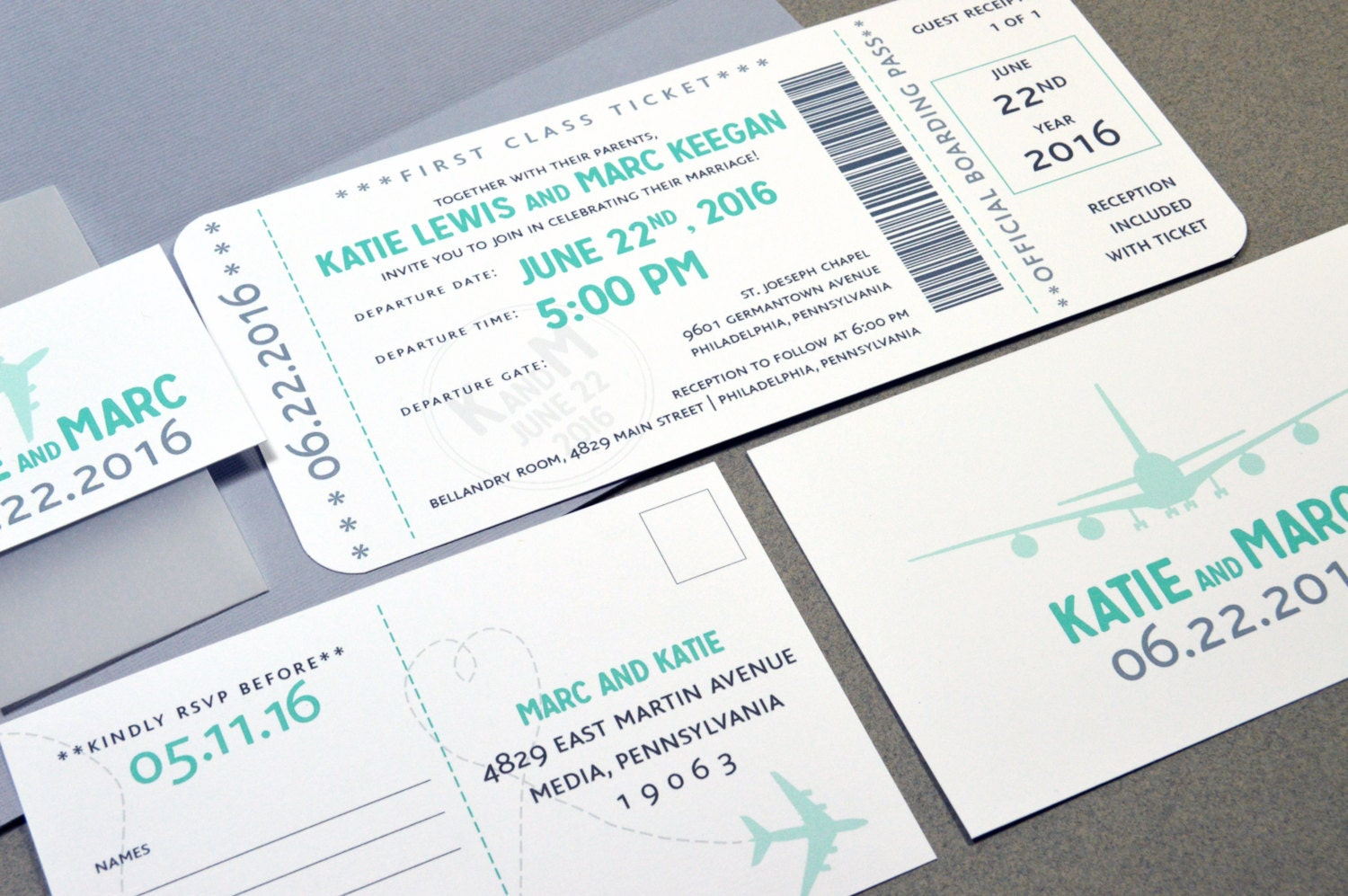 Boarding Pass Wedding Invitations Plane Ticket Invite Set Aqua