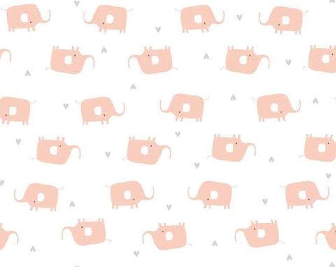 Organic KNIT Fabric - Cloud9 Tout Petit - Little Elephants White