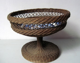 Antique Victorian Pedestal Basket with Blue Willow Plate