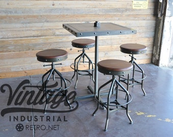 Antique Industrial Toledo Reproduction Bar Stool / Pub or Drafting Chair (Set of 8)