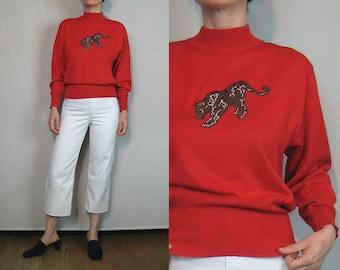 German Red Wool Leopard Applique Sweater / Novelty Sweater / Cat Sweater / Red Wool Turtleneck / Mondi Germany Sweater