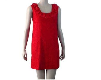 M/8 Vintage 1960's Red Lace Mini Dress, Babydoll Dress Medium