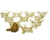 Ten Vintage Footed Glass Nut Cups/ Heisey Empress Pattern (C. 1950's) Sahara Color (Pale Yellow) Delicate Candy Dishes