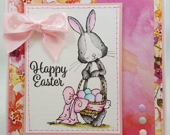 Easter Watercolored Bunny - Blank NoteCard, Greetings Card, Handmade Card, Hand sewn