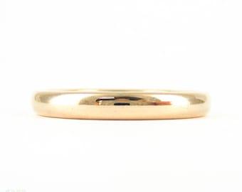Vintage 9ct Rose Gold Wedding Ring, 9 Carat Rose Gold Ladies D Shape Profile Narrow Band. Circa 1930s, Size N.5 / 7.