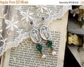 On Sale Patron Saint, Saint Patrick Medals with Vintage Emerald Green Rhinestone Hearts and Vintage pearl Altered Assemblage Earrings