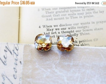 On Sale Champagne Bubbles, Stunning Pale Topaz, Champagne Golden ,Swarovski Crystal Rhinestone Square Post Earrings by Hollywood Hillbilly