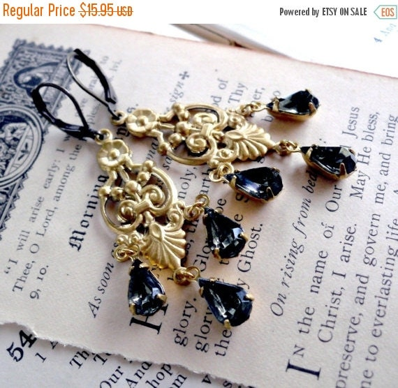On Sale Black Caviar Art Nouveaux Estate Style Tear Crystal Jewel Earrings