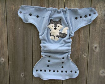 Upcycled  Merino Wool Nappy Cover Diaper Cover Wool Wrap Cloth Diaper Cover One Size Fits Most Blue With Wolf Applique/ Beige