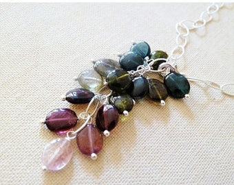CLEARANCE Watermalon Tourmaline necklace. Cluster pendant. October birthstone. Birthstone jewelry. Tourmaline. Silver necklace. Sale. Ready