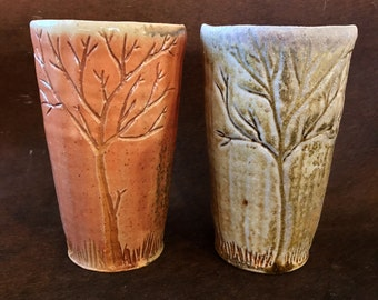 Handmade Ceramic Tumbler Set, Stoneware Pottery Tumblers with Carved Trees, Wood Fired, 16 oz. Set of 2, Tall Cups, Tree Pottery Art, Winter