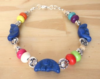 Blue Moon Bracelet, Bright and Colorful Stone Beads, Silver Moon & Sun with Rainbow Colors