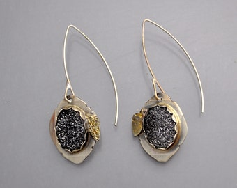 Black Drusy Earrings