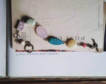 Beaded Boho Bracelet, Colorful Vintage Stone Bracelet, Rosary Style Boho Chic Bracelet for Women