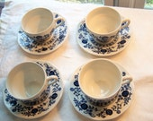 Vintage Blue & White Cups and Saucers Set of 4 / Blue Onion Made in England Enoch Wedgwood Tunstall Ltd. Farmhouse Country Cottage Chic