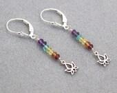 CHAKRA Stones / Silver Chakra earrings / Lotus Flower Earrings / Chakra Jewelry / Chakra Stone Set / Chakra Crystals / Yoga Jewelry