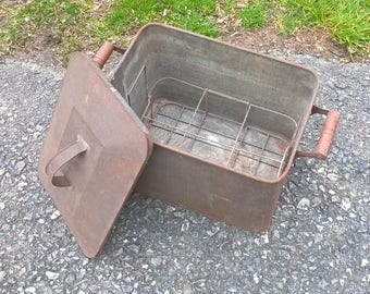 Old metal tin canning boiler / milk container