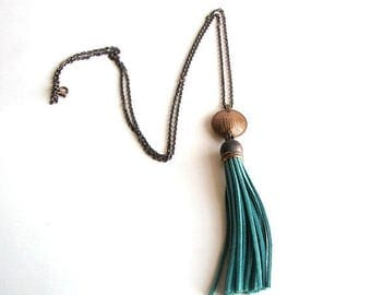 SALE turquoise tassel & coin necklace . long necklace . boho relic jewelry . coin necklace . fringe necklace