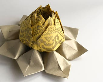 Origami Lotus Flower - Handmade Paper Flower - Yellow, Antique Gold -  Hostess gift, Birthday gift, Graduation gift