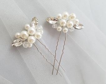 Ivory Pearl Hair Pin, Crystal Hair piece, Silver pearl Hairpin, Bridal Hair Comb Accessory, Ivory Pearl Wedding Hair comb {Eris Hairpin}
