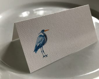 Blue Heron Tented Name Place Cards Party Coastal Decor 10 Personalized or 12 Blank Table Cards Events Decor