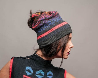 Knitted hat Tribal - double sided reversible knitted beanie neon tribal pattern gray navy unisex turban winter slouchy beanie gift box