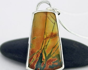 Handcrafted Sterling Silver and Red Creek Jasper Pendant Autumn Colors Natural Stone Contemporary Abstract Artisan Jewelry 14716237101716