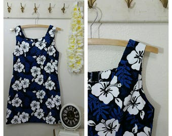 Vintage Hawaiian Dress by Shannon Marie, Size 10, Blue and White,  #65272