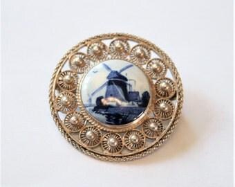 Vintage Delft brooch.  Silver brooch. Dutch brooch.  Windmill brooch