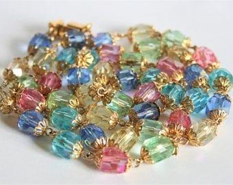 Vintage Czech glass bead necklace.  Multi colour necklace. Pastel bead necklace.  Vintage jewellery