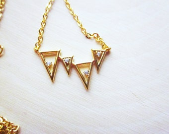 Handmade Necklace Cubic Zirconia Gold Necklace Crystal Triangle Necklace Crystal Gold Triangle Pendant Gold Triangle Necklace